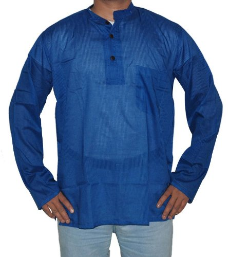 Indian Casual Wear Cotton Short Kurta with Standing Collar Neckline Size 4XL