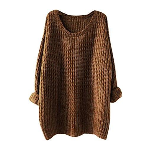 Maglione oversize Donne Manica lunga Baggy lavorato a maglia Felpa (cachi)