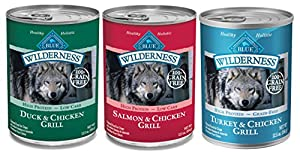 Blue Buffalo Wilderness Grain Free Wet Adult Dog Food Variety Pack, 3 Flavors, 12.5-Ounces Each (6 Pack)