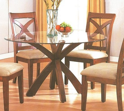 Cheap Cross Style Wood Base 54″ Round Glass Top Dining Table (VF_AM7215)