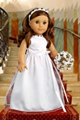 My First Communion - White satin communion dress for american girl doll with matching headband and white leather dress shoes - American Girl Doll Clothes