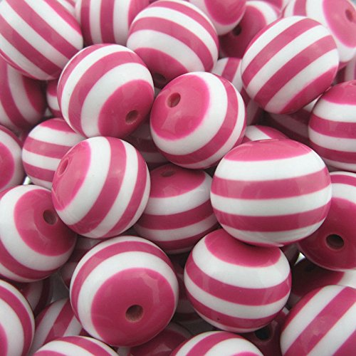 100 PCs Jewelry Resin Pink Stripe Chunky Beads Bubblegum Pendants Necklace DIY 20 mm (Little Window Resin compare prices)