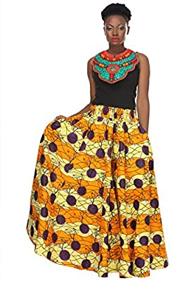 African Planet Women's Trees Wax Cotton Skirt Dashiki Inspired Elastic Waist Maxi