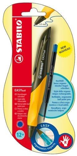 Stabilo B-42880-10 EASYball - Bolígrafo para diestros (0,5 mm), color verde y amarillo