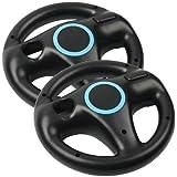 Generic 2 x Black Steering Mario Kart Racing Wheel for Nintendo Wii Remote Game
