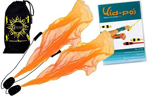 Flames N Games Angel Poi Set (Orange) Practice Poi Aka Scarf Spiral Poi + Kid Poi Dvd + Travel Bag