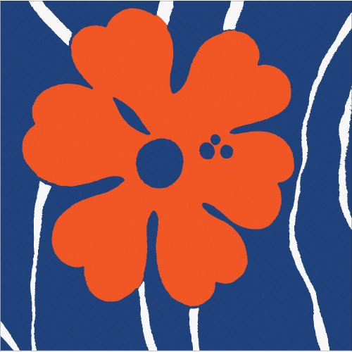Coordinate 3-Ply Lunch Napkins, Navy Blue & Orange Floral