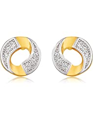 Mahi Gold Plated Gold Whirl Stud Earrings With CZ For Women ER1100547G