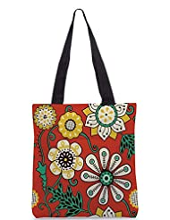 Snoogg Colorful Floral Seamless Pattern In Cartoon Style Seamless Pattern Designer Poly Canvas Tote Bag - B012FUGMA4