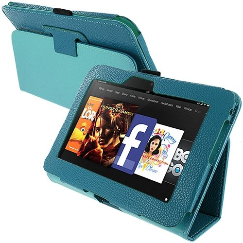 Cell Accessories For Less (Tm) Baby Blue Folio Pouch Case Cover Stand For Amazon Kindle Fire Hd 7 // Free Shipping By Thetargetbuys front-909581