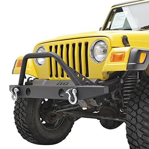 Black Textured Off Road TJ YJ Jeep Wrangler E-Autogrilles Front Bumper with 2 D-rings