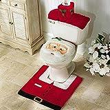 insieme di 3 decorazioni di Natale Babbo sedile WC coperchio e tappeto & scatola del tessuto di copertura insieme