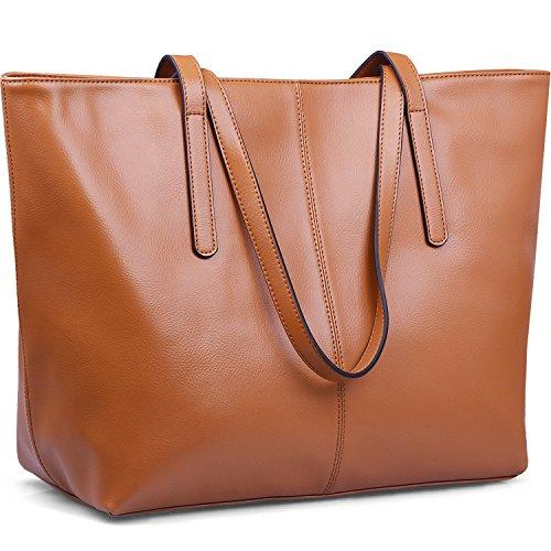 Jack&Chris Women's Genuine Leather Tote Bag Handbag Shoulder Bag,WBDZ038 (Brown)