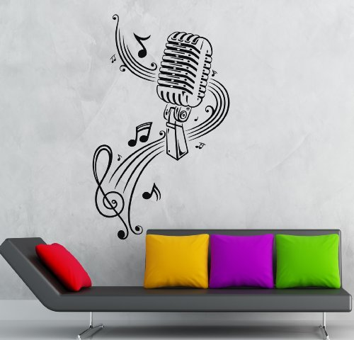 Wall Stickers Vinyl Decal Microphone Singing Rock Music Pop (Ig377)