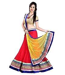 Rangrasiya Designer wear Red-Yellow Net Lehenga Choli