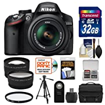 Nikon D3200 DSLR Camera & 18-55mm VR Lens (Black) + Kit (Certified Refurbished)