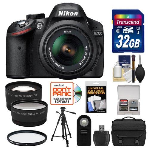 Nikon D3200 Digital Slr Camera & 18-55Mm Vr Dx Af-S Zoom Lens (Black) With 32Gb Card + Case + Tripod + 2 Lens Set + Accessory Kit (Refurbished By Nikon Usa)