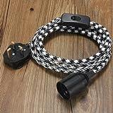 E27 4M Fabric Cable UK Plug In Pendant Lamp Light Set Fitting Vintage Bulb Holder Socket-Black+white Dot