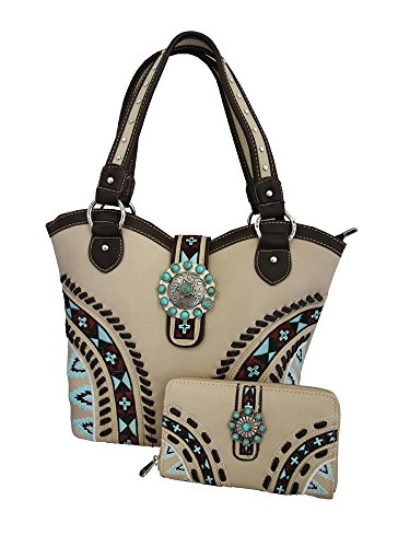 montana-west-ladies-concealed-gun-carrying-purse-wallet-set-aztec-design-beige