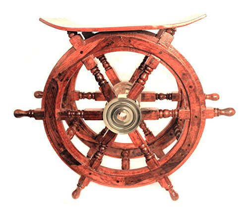 WinnerBrown Teak Wood Ship Wheel Table, 18 inch (Ship Steering Wheel Table compare prices)