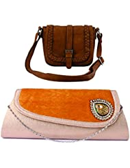 Kleio Combo Of Chic Fancy Sling Bag & Velvet Broach Clutch