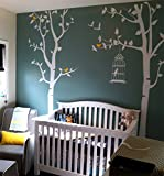 PopDecors - Nursery Tree with Personalized Kid's Name Custom Beautiful Tree Wall Decals for Kids Rooms Teen Girls Boys Wallpaper Murals Sticker Wall Stickers Nursery Decor Nursery Decals PT-0054-2-WHT