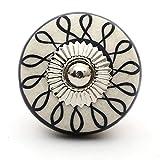 Knobs & Hooks Ceramic Cabinet Knob; White+Balck; Set of four pieces