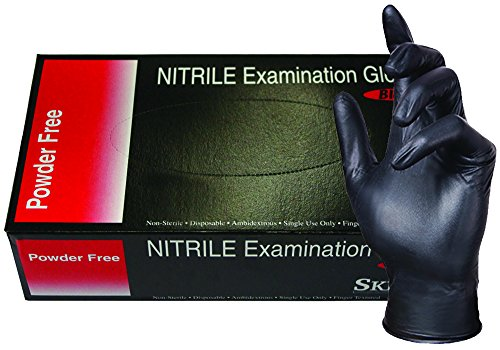 SKINTX BLK50010-M-CS Nitrile Medical Grade Examination Gloves, 5 mil - 5.5 mil, Powder-Free, Textured, Chemotherapy Tested, Latex-Free, Non Sterile, Medium, Black (Pack of 1000) (Black Latex Gloves 1000 compare prices)