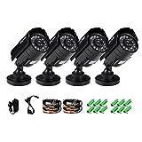ZOSI 4PK HD 800TVL 3.6mm lens 24 IR-LEDs CCTV Camera Home Security Day/Night Waterproof Camera