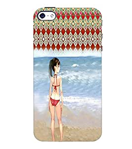 PrintDhaba Beach Girl D-2952 Back Case Cover for APPLE IPHONE 4 (Multi-Coloured)