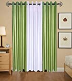 Indian Online Mall Plain Door Curtain (Pack of 2), Green and White