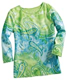 Samantha's Style Shoppe Key Lime Paisley Sequin 3/4 Sleeve Top