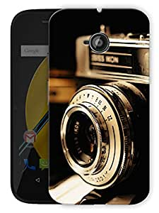 "Vintage Camera Lens Printed Designer Mobile Back Cover For ""Motorola Moto E"" By Humor Gang (3D, Matte Finish, Premium Quality, Protective Snap On Slim Hard Phone Case, Multi Color)"