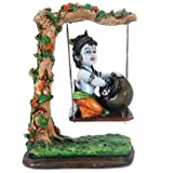 "Earth ""Bal Krishna On Swing "" (Multicolor, 5 X 7 X 10 In)"