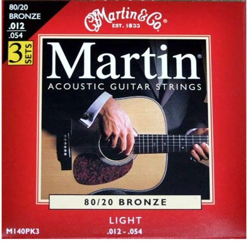 Martin M140 80/20 Acoustic Guitar Strings, Light