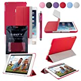 SAVFY New Apple iPad Air (2013 Edition) Ultra Thin Magnetic Smart Cover Stand & Slim TPU Back Case, with Auto Sleep and Wake Sensor for Apple iPad Air iPad 5 Generation, EXTRA Gift: SAVFY Stylus Pen + SAVFY Screen Protector Film (Available in Multiple Colors) - Redby SAVFY