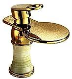 SK54 洗面用 滝水流 シングルレバー 混合水栓 アンティーク 手洗いボウル 風呂 立水栓 洗面台 手洗い器 手洗い鉢 洗面ボウル 蛇口 水道 取り付けホース付き (ゴールド)