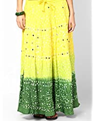 Soundarya Women Cotton Skirts -Yellow -Free Size - B00MPU0U9E