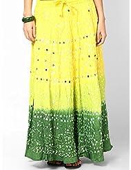 Soundarya Women Cotton Skirts -Yellow -Free Size - B00MPU0U9E