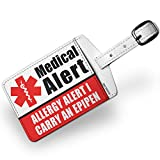 Luggage Tag Medical Alert Red Allergy Alert 1 Carry an Epipen - NEONBLOND