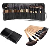 Dr K's Makeup Brushes 32 Pcs Black Rod Super Professional Brush Set Kit with Black PU Leather Pouch ,32 Count for For Eye Shadow, Blush, Concealer, Etc (wood)
