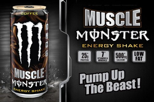 8 Pack - Monster Muscle Energy Shake Coffee - 15Oz.