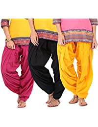 SPV Women's Cotton Patiala Salwar (SPV_0082_Black, Pink & Yellow_Free Size_Pack Of 3)