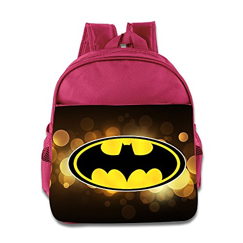 [Batman Bat Signal Children School Pink Backpack Bag] (Baseball Bat Man Costume)