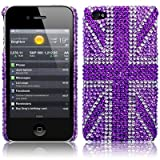 iPhone 4S / iPhone 4 Purple Union Jack Diamante Case / Cover / Shell / Shield Part Of The Qubits Accessories Rangeby TERRAPIN