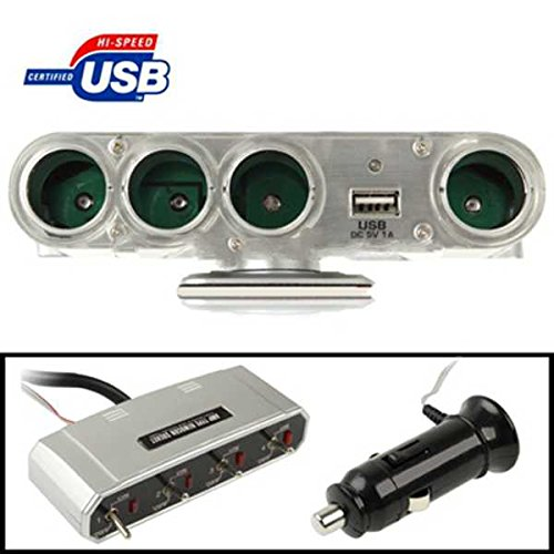 Az-57 In Car 4 X Cigarette Apertures + 1 X Usb Sockets, Each Aperture Has Separate Switch Operation, Suitable For Gps / Mobile Phone / Pda