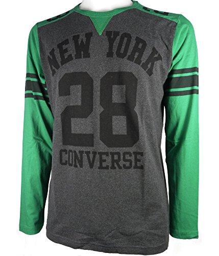 CONVERSE 4IU433C t-shirt ml maglia uomo grigio/verde (TAGLIA S)