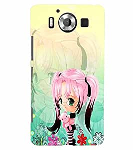 PrintVisa Cute Cartoon Girl 3D Hard Polycarbonate Designer Back Case Cover for Nokia Lumia 950