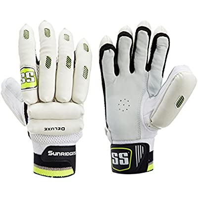 SS Deluxe Youth RH Batting Gloves (White/Green)