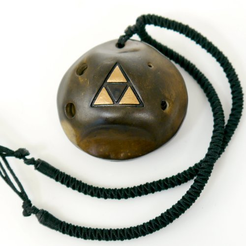 6 Hole Strawfire Triforce Ocarina by Songbird- Legend of Zelda - Link - Ceramic- Soprano Pendant -Necklace Flute - Perfect Travel Companion - Easy to Play - Free Tutorial & Songbook Included